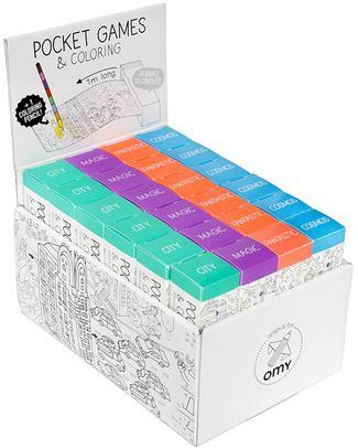 Omy Gioco Tascabile - Pocket Games & Colouring (rotolo da 1 metro) - Fantastic (carta riciclata!) Colorare
