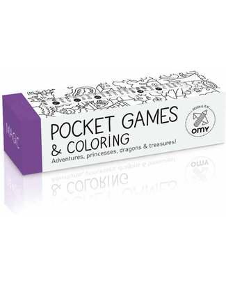 Omy Gioco Tascabile - Pocket Games & Colouring (rotolo da 1 metro) - Magic (carta riciclata!) Colorare