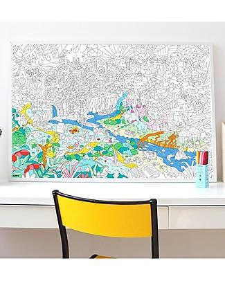 Omy Giungla - Poster Gigante da Colorare (100 x 70 cm) - Stampa ecologica su carta riciclata! Colorare