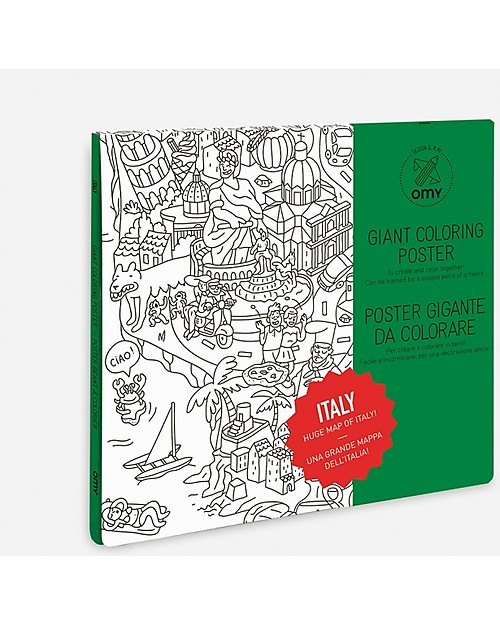 Omy Italia - Poster Gigante da Colorare (100 x 70 cm) - Stampa ecologica su carta ticiclata Colorare