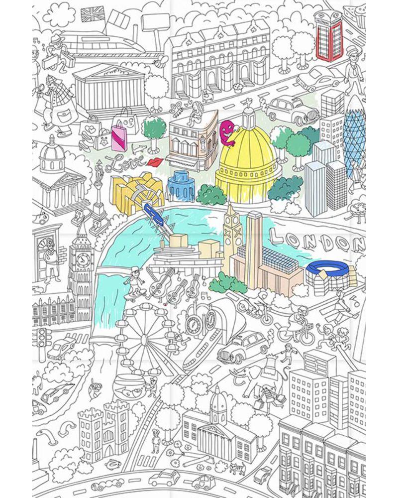 Immagini Di Londra Da Colorare.Omy Londra Poster Da Colorare 115 X 80 Cm Stampa Ecologica