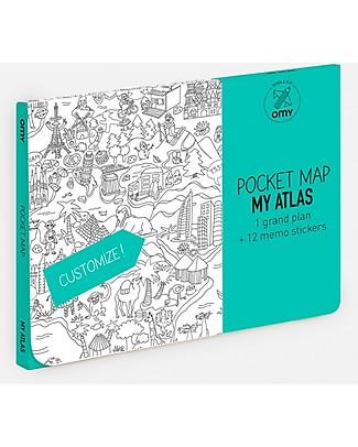 Omy Mappa Tascabile da Cololare - Atlante del Mondo - Carta Riciclata Double-Face! Colorare