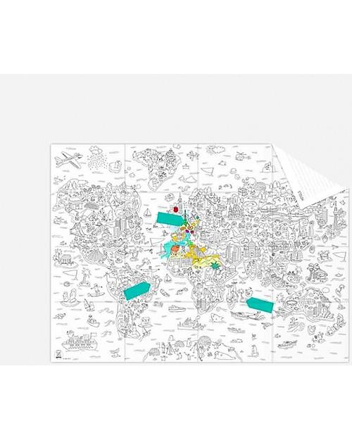 Cartina Mondo Tiger.Omy Mappa Tascabile Da Cololare Atlante Del Mondo Carta Riciclata Double Face Unisex Bambini