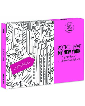 Omy Mappa Tascabile da Colorare - New York (carta riciclata double-face!) Colorare