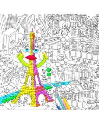Omy Parigi - Poster Grande da Colorare (180 x 50 cm) - Stampa Ecologica su Carta Riciclata! Posters