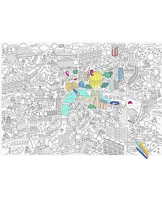 Omy Poster da Colorare, Londra (70 x 100 cm) - Stampa ecologica su carta riciclata! Posters