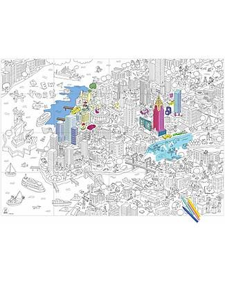 Omy Poster da Colorare, New York (70 x 100 cm) - Stampa ecologica su carta riciclata! Colorare