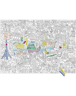 Omy Poster da Colorare, Parigi (70 x 100 cm) - Stampa ecologica su carta riciclata! Posters