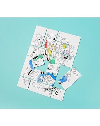 Omy Puzzle da Colorare, Fantastic, 19x25 cm - Stampato su carta riciclata! Puzzle