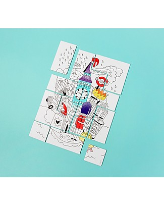 Omy Puzzle da Colorare, Londra, 19x25 cm - Stampato su carta riciclata! Puzzle