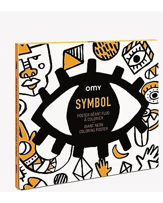 Omy Simboli - Poster Gigante da Colorare (100 x 70 cm) - Pre-colorato con Colori al neon! Colorare