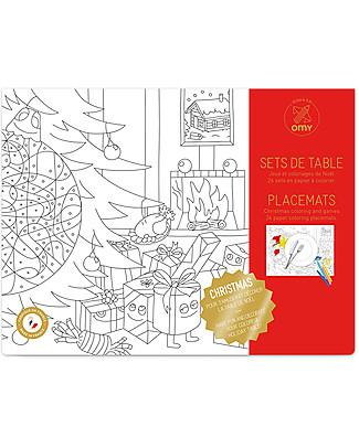Omy Tovagliette Natale da Colorare, 24 pezzi, 30 x 40 cm - Stampa ecologica su carta riciclata! Colorare