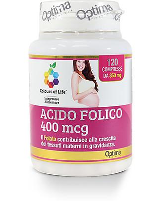 Optima Naturals Acido folico 400 mcg, 120 Compresse - Ottimo in Gravidanza Integratori alimentari