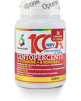 Optima Naturals Centopercento, 30 Compresse - Integratore MultiVitaminico-MultiMinerale Integratori alimentari