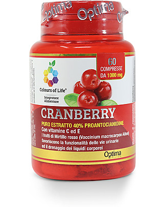 Optima Naturals Cranberry Vitamina C ed E, 60 compresse - Favorisce la Funzionalità Urinaria Integratori alimentari