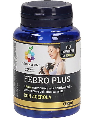 Optima Naturals Ferro Plus, 60 compresse - Riduce Fatica e Stanchezza Integratori alimentari