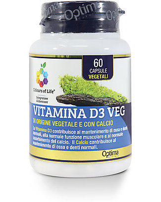 Optima Naturals Vitamina D3 Veg, 60 Capsule - per Denti ed Ossa Integratori alimentari