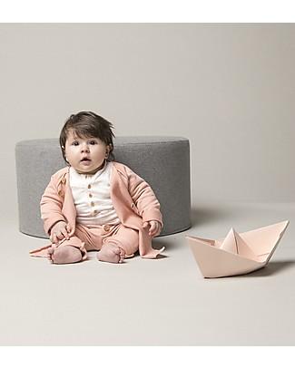 Origami Felpa Maniche Raglan con Bottoncini, Rosa - Cotone bio e fibra di latte Felpe
