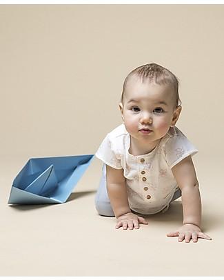 Origami T-shirt Bimba con Taschino e Bottoncini - Fibra di latte e cotone bio T-Shirt e Canotte