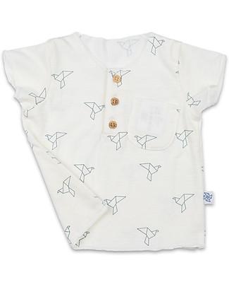 Origami T-shirt Bimbo con  Taschino Bottoncini - Fibra di latte e cotone bio T-Shirt e Canotte