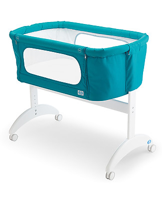 Pali Culla da Co-Sleeping Maya, Blu Pavone - 0-6 mesi, legno di faggio massello Culle Co-Sleeping