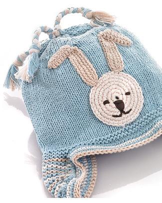 Pebble Cappellino Paraorecchie Coniglietto Celeste - Bio e Fair Trade Cappelli