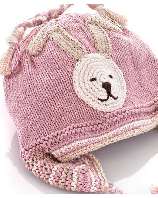 Pebble Cappellino Paraorecchie Coniglietto Rosa - Bio e Fair Trade Cappelli