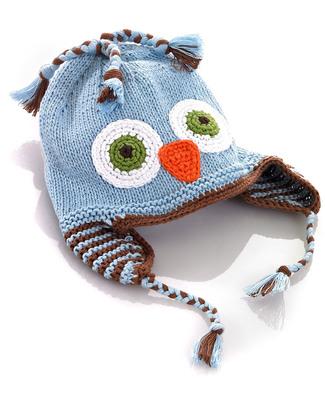 Pebble Cappellino Paraorecchie Gufetto Celeste - Fair Trade Cappelli