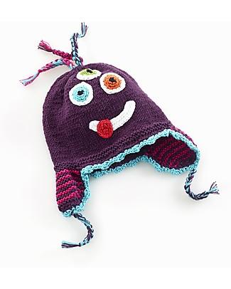 Pebble Cappellino Paraorecchie Silly Mostriciattolo - Viola - Cotone Bio Cappelli
