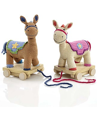 Pebble Cavallino con Ruote da Trascinare - Blu/Marrone 30 cm - Fair Trade Pupazzi Crochet