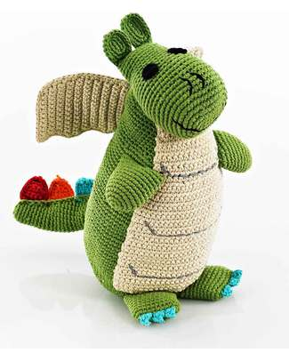 Pebble C'era una Volta - Drago Verde - Fair Trade - Altezza 35 cm  Peluche
