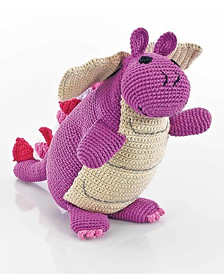 Pebble C'era una Volta - Drago Viola - alto 36 cm - Fair Trade Pupazzi Crochet