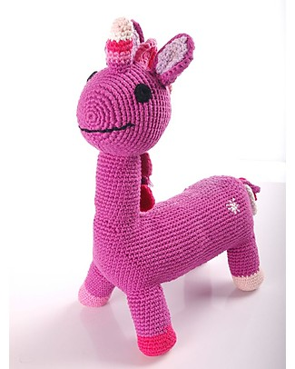 Pebble C'era una volta - Unicorno Fucsia - 28 cm- Fair Trade Pupazzi Crochet