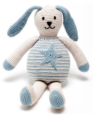 Pebble Coniglietto Celeste con Stellina - Bio e Fair Trade (Altezza 20 cm) Pupazzi Crochet
