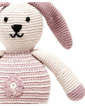 Pebble Coniglietto Rosa con Fiore - Bio e Fair Trade (Altezza 20 cm) Pupazzi Crochet