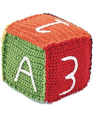 Pebble Cubetto Lettere e Numeri - Arcobaleno (10 cm) - 100% Cotone Bio Pupazzi Crochet