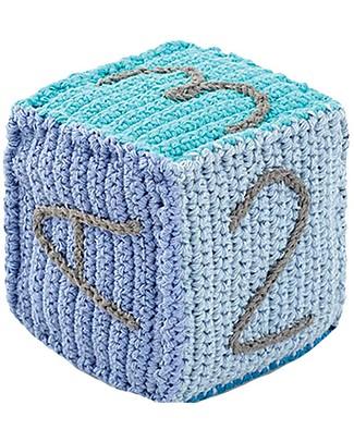 Pebble Cubetto Lettere e Numeri - Celeste (10 cm) - 100% Cotone Pupazzi Crochet