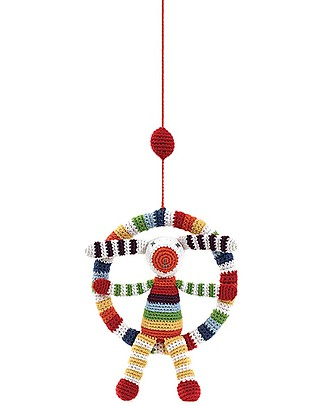 Pebble Giostrina Mobile - Coniglietto Multicolore - 27 cm - Fair Trade Pupazzi Crochet