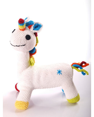 Pebble Grandi Amici - Unicorno Bianco - Fair Trade - 28 cm Peluche