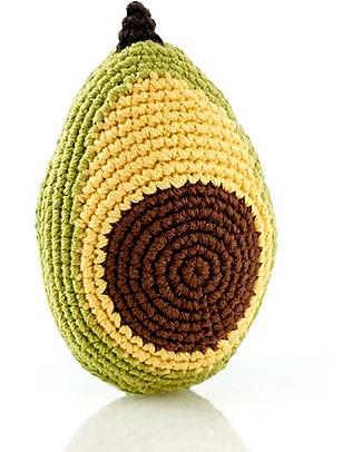 Pebble L'Amico Avocado, Sonaglio in Puro Cotone Bio - 12 cm Sonagli