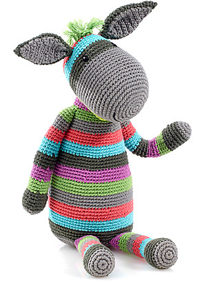 Pebble Large Donkey 40 cm - 100% Cotton, Fairtrade Crochet Soft Toys