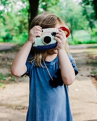 Pebble Macchina Fotografica, Sonaglio in Puro Cotone Bio - 12 cm Peluche