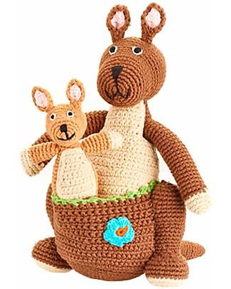 Pebble Mamma Canguro + Baby Canguro - Fair Trade Pupazzi Crochet
