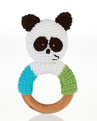 Pebble Massaggiagengive e Sonaglio ad Anello in Legno - Panda - Fair Trade Sonagli