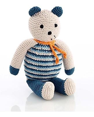 Pebble Orsetto, Blu Petrolio - Bio e Fair Trade (Altezza 10 cm) Pupazzi Crochet
