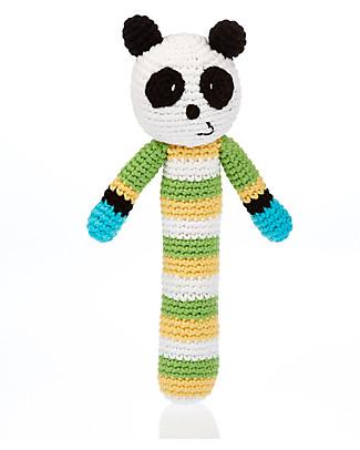 Pebble Panda Stick Rattle - Organic Cotton, Fair Trade Rattles