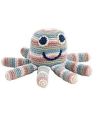 Pebble Piovra a Righe - Sonaglio (Altezza 15 cm) - 100% Cotone Bio - Fair Trade Pupazzi Crochet