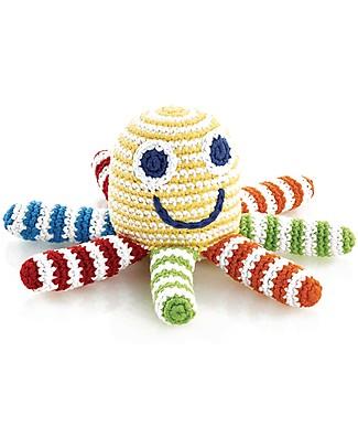 Pebble Piovra Multicolore - Pupazzino con Sonaglio (Altezza 15 cm) - Fair Trade Pupazzi Crochet