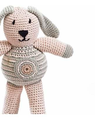 Pebble Pupazzo - Coniglietto Tortora e Bianco - Cotone Bio (Altezza 20 cm) Pupazzi Crochet