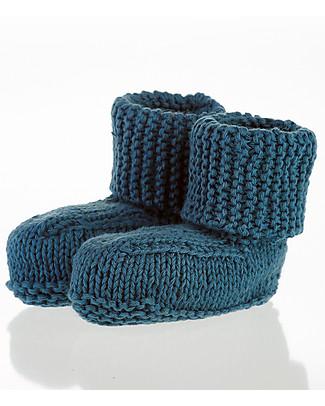 Pebble Scarpine Blu Petrolio 0-6 mesi - 100% Cotone Bio Pantofole